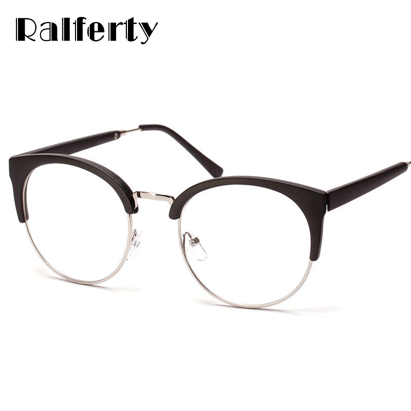 Ralferty Kacamata Bulat Wanita Miopia Bingkai Kacamata Kacamata Semi Tanpa  Bingkai Dekorasi Diopter Optik Rentang Merek 17dc1d8ba9