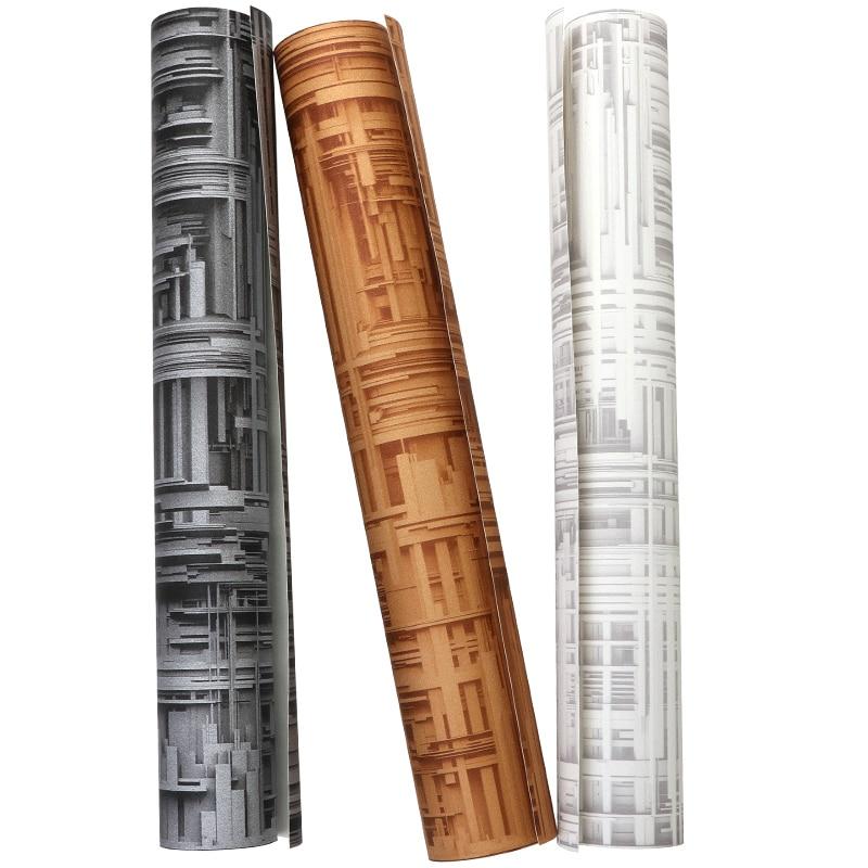 Купить с кэшбэком vinilos pared Post Modern Metallic 3D Wall papers Home Decor Black Grey PVC Punk Wall Paper for Walls papel mural rejilla pared
