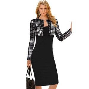 Image 2 - Женское Деловое платье Nice forever, зимнее винтажное облегающее платье карандаш с длинным рукавом и пуговицами, модель b10, 2019