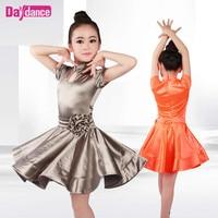 Stand Collar Girls Dance Latino Dress Shiny Modern Ballroom Latin Dancing Dresses For Kids
