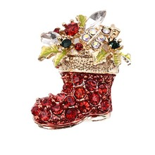 Fashion Red Shoes Brooches For Women 2017 Vintage Female Red Boots Brooches Pins Gold-color Zinc Alloy Rhinestone Jewelry Gifts
