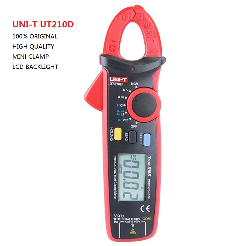 UNI-T UT210D Digital Clamp Meter Multimeter AC/DC Current Voltage Resistance Capacitance Temperature Measurement Auto Range цены