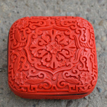 Exquisite Square Chinese Flower Red Cinnabar Lacquer Beautiful Designs Auspicious Jewelry Box