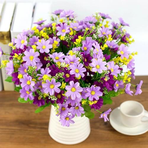1 Bouquet 28 Heads Artificial Daisy Silk Cloth Flower Sweet Wedding Party Decor