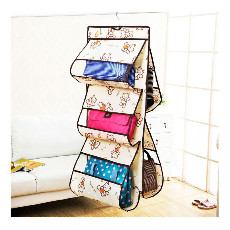 5 pockets foldable oxford over hanging bag organizer storage Cloth dust bag Breathable no deformation Transparent PVC