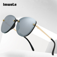 Imwete Rimless Sunglasses Women Brand Designer Metal Sun Glasses Gradient Shades Cutting Lens Ladies Frameless UV400 Eyeglasses