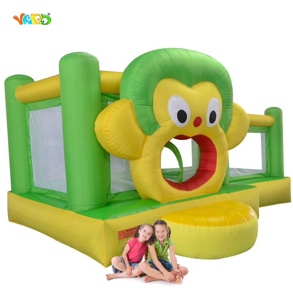 YARD Lovely Monkey Inflatable Bouncer Jumping Castle Inflatable Bounce House with Free PE Balls for Kids Gift navy monkey with smile