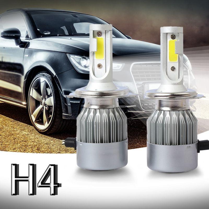 Promotion! New 2pcs C6 LED Car Headlight Kit COB H4 36W 7600LM White Light Bulbs