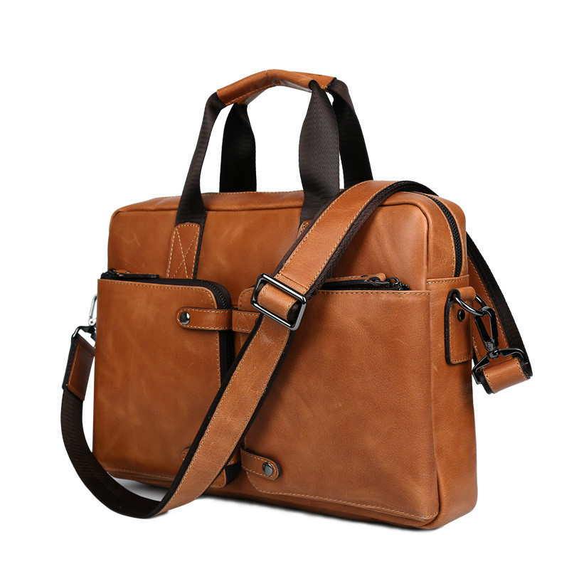 men's business dress genuine leather 14laptop bags 2018new man black brown business travel handbags briefcase crossbody bags портмоне mano business 19008 19008 brown
