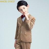 Kids/Children Khaki Formal Boys Wedding Suits Tuxedo Suits boy Blazer Suit Mariages/Perform Dress Costume Baby Boy Baptism Gown