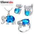 50% Off Uloveido Cute Elephant Jewelry Sets for Women Children'S Girls Accessories Blue Necklace Earring Bijoux Jewelry Set T485