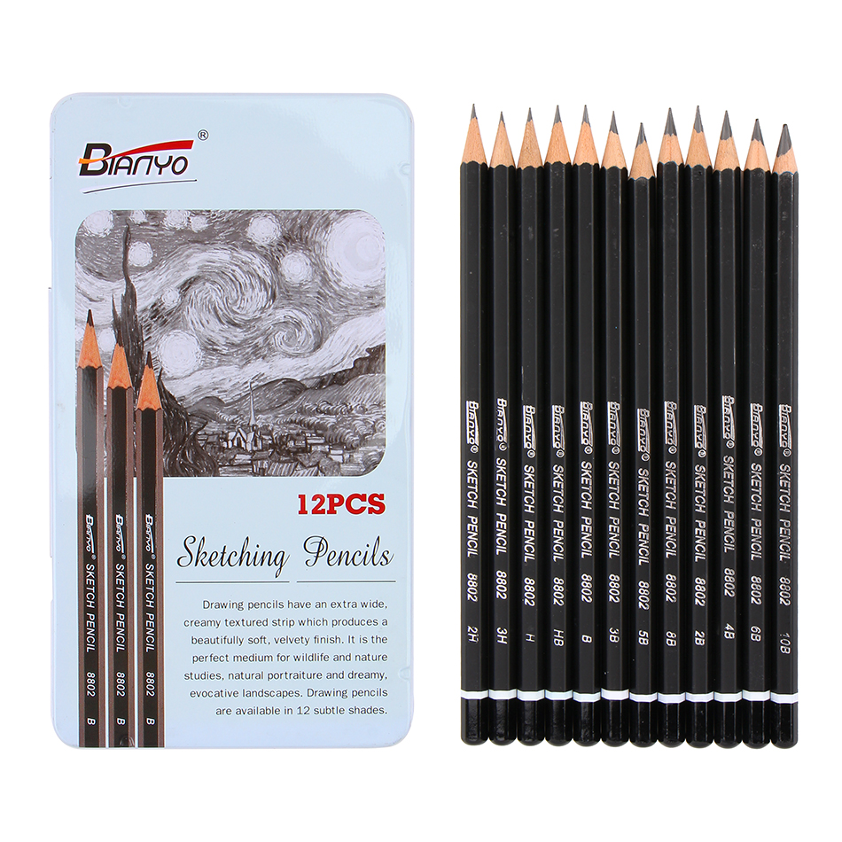 Bianyo12 pieces box 3h 10b standard pencils set different shades