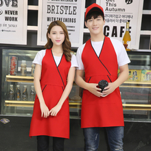 V-neck Hanging Neck Adjustable Chef Cooking Apron Restaurant Hotel Canteen Anti-fouling Cafe Bakery Barber Shop Waiter Pinafore