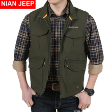 NIAN JEEP Brand Clothing 2018 Male Vest High Quality Loose Photograph Vest With Many Pockets 85