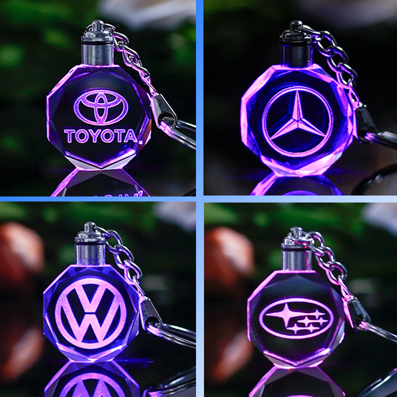 Customized Car Logo Keychain Laser Engraved Crystal Keyring Styling Keychain with Colorful LED Light Souvenir Gift Drop Shipping ...