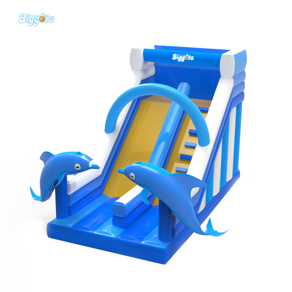 цены Free Shipping Commercial Grade Inflatable Dolphin Slide Inflatable Dry Slide For Sale
