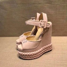 2019 Newest Pink Suede Platform Wedge Sandal Summer Sexy Peep Toe Buckle Strap Leather Shoe Woman Cutouts Gladiator Sandal 2017 newest handmade crystal beaded wedge slippers open toe butterfly knot platform sandal transparent pvc sandal