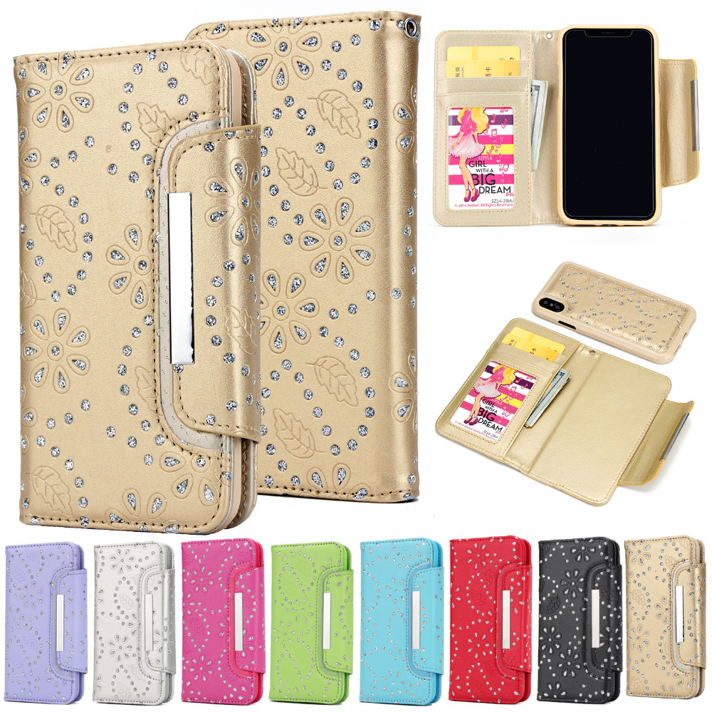 1 lot 2 in 1 PU Leather Wallet Bag Case Covers Pouch for Apple iPhone 6 6S 7 Plus