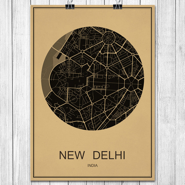 India new delhi world city map classic kraft paper vintage retro india new delhi world city map classic kraft paper vintage retro poster wall sticker art painting gumiabroncs Images