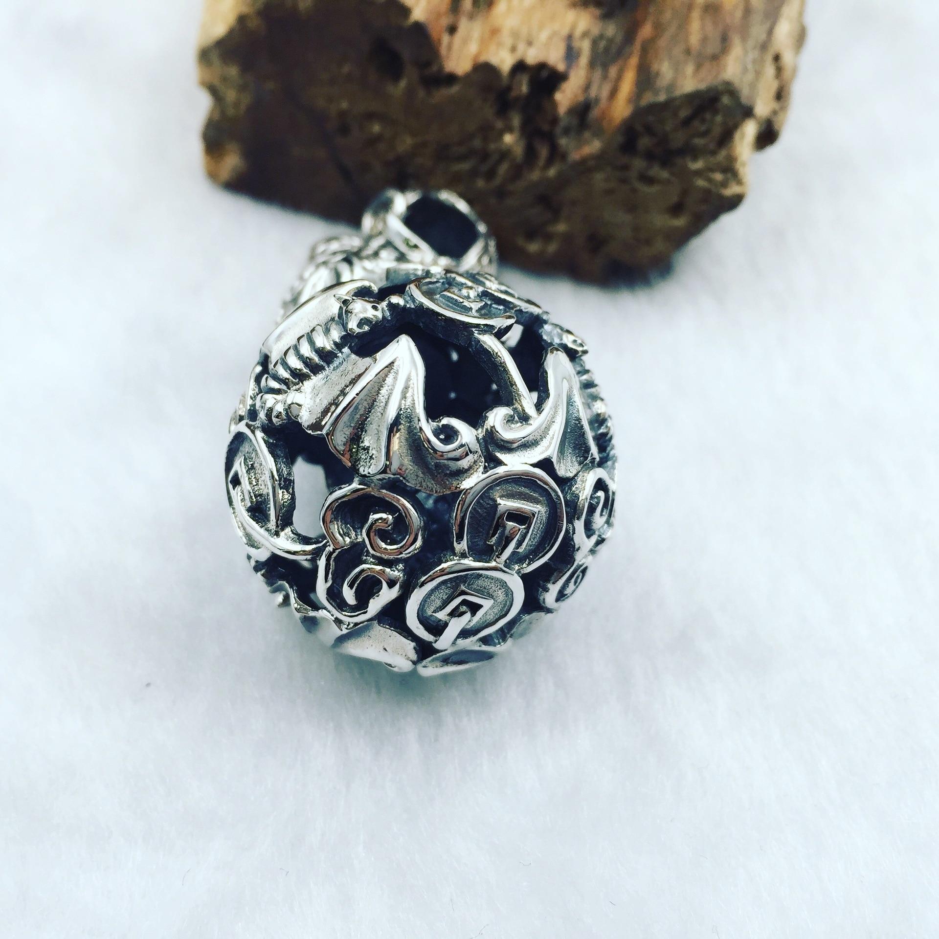 Gli antichi in argento Thai argento soldi genuino S925 Ciondolo In Argento campana appesa pipistrello zucca può ruotare produttori diretti - 3