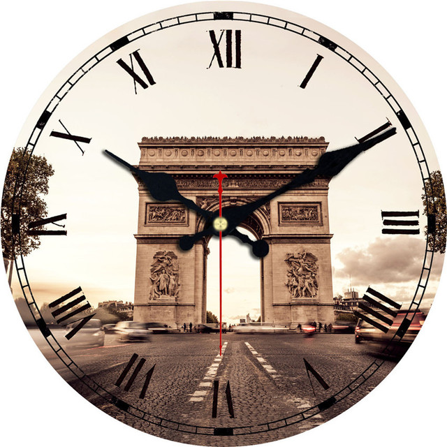 WONZOM Paris Scenery Wooden Decorative Round Wall Clock Living Room Wall Decor Saat Home Decoration Vintage Watch Wall 2017 Gift