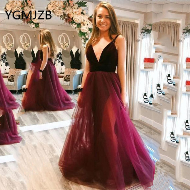 Sexy dos nu longues robes de soirée 2019 a-ligne profonde col en V Spaghetti sangle Tulle robe de bal femmes formelle robe de bal