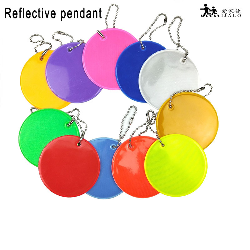 11 Colors Soft PVC reflector Reflective pendant charm bag accessories hanger reflective keyrings keychain for road safety use