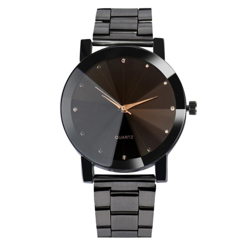 Doreen caja de acero cuarzo Correa relojes cristal rombo negro plata color hombres de moda de lujo de negocios reloj 1 unidades