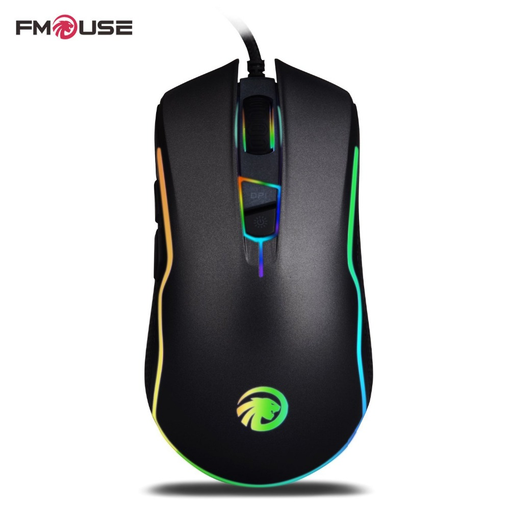 Original FMOUSE F500 Ergonomic Optical Wired USB Gaming Mouse 4000DPI Gaming Mice With 7 Programmable Buttons for PC/Laptop logitech g302 wired gaming mouse with breathe light 4000dpi usb support office test for pc game windows10 8 7 free gift