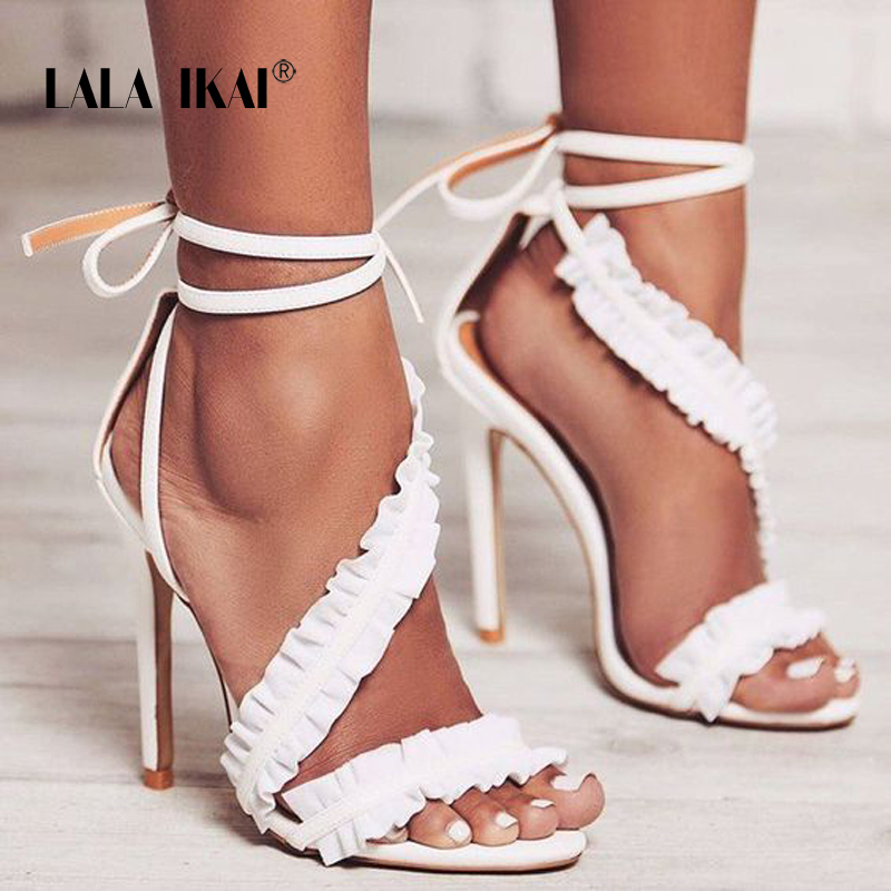 LALA IKAI Ankle Strap High Heels Sandals Women Ruffles Sandals Summer shoes Solid Lace-Up Chaussure Femme Talon 014C1021-5 peacock crystals slingbacks 8cm chunky heels open toe summer shoe sandals chaussure femme de marque chaussure femme talon ouvert