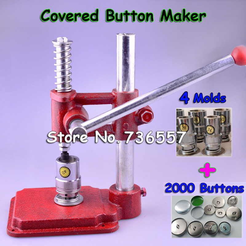 Fabric Covered Button Press Machine Handmade Fabric Self Cover Button Maker Machines Mold Tools + 4 Molds + 2000 pcs buttons все цены