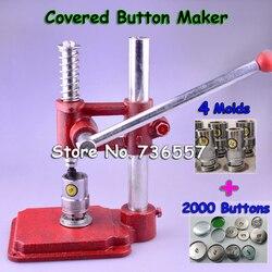 Máquina prensadora de botones cubierta de tela hecha a mano máquina fabricadora de botones de cubierta automática herramientas de molde + 4 moldes + 2000 botones de Uds.