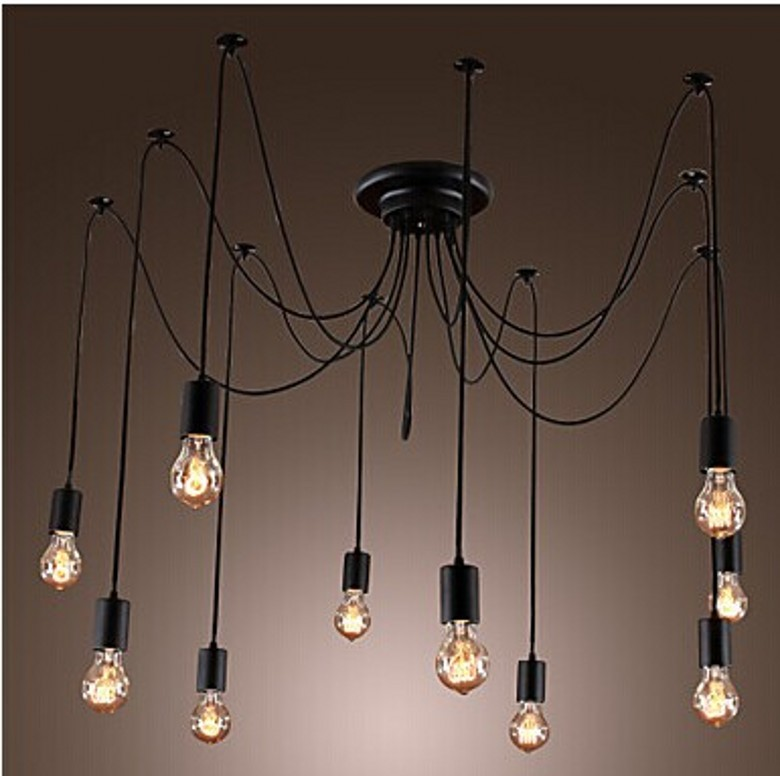 creative Artistic Chandeliers  lights 10 Bulbs Design for mordern vintage living room Edison Vintage Ceiling Lamps Home
