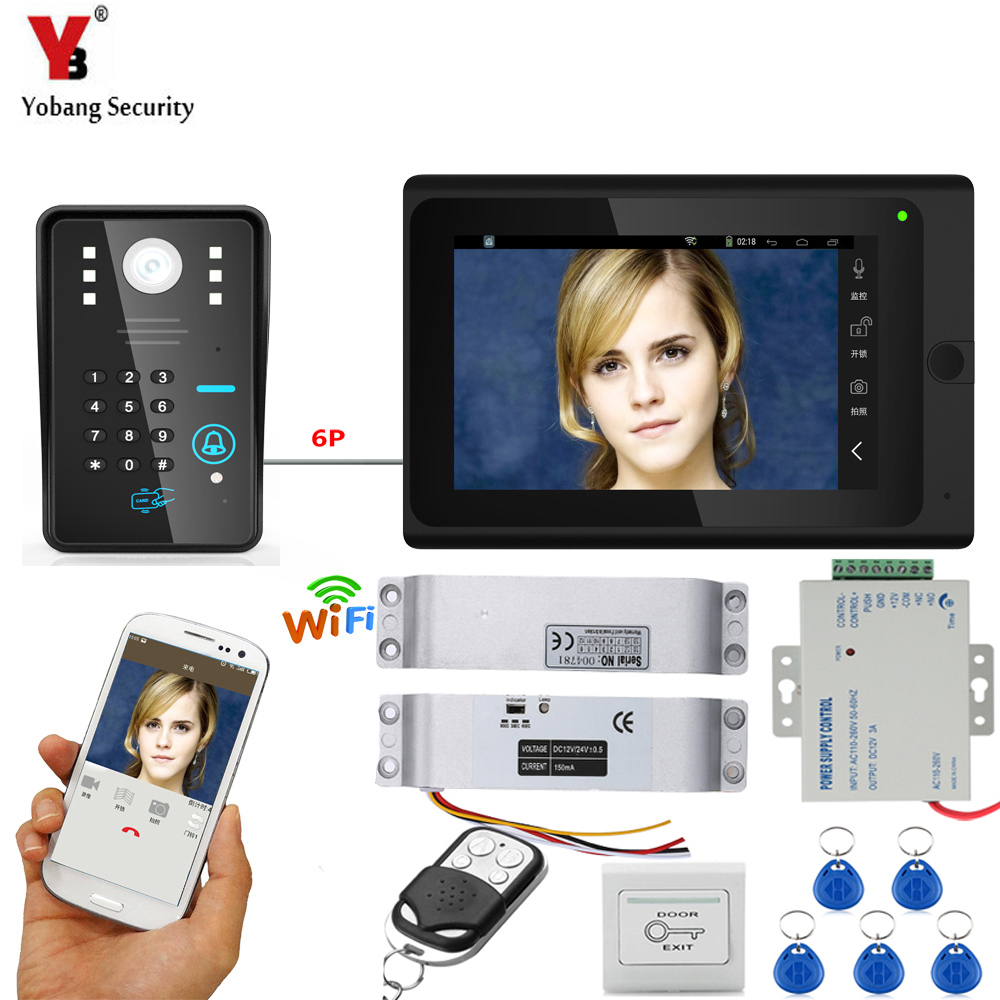 Yobang Security Wifi Wireless APP Control 7 Inch Monitor Video Doorbell Visual Home Video Intercom System+Door Lock Power Supply