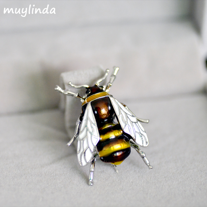 Fashion Enamel Bees Metal Mini Brooches <font><b>Pins</b></font> Men Women Suit Brooch And <font><b>Pin</b></font> Broach Metal <font><b>Buttons</b></font> Brosche Clips Scarf image