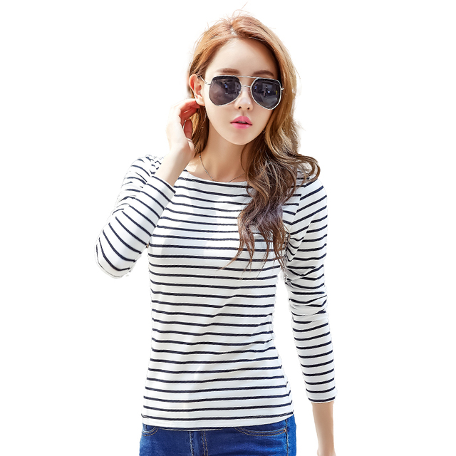 Spring new 2017 Long sleeve striped undershirt women tops female knitted cotton t-shirt slash neck Large size casual tee-1801