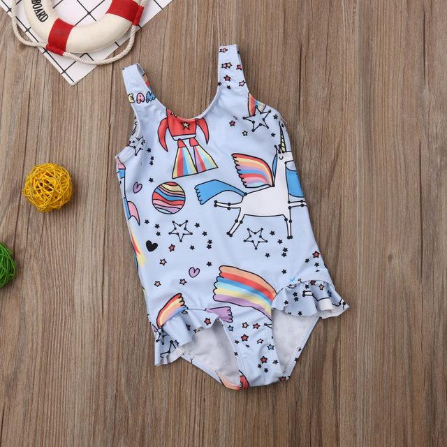 0-5T Kids One-piece Swimsuit Toddler Kids Baby Girls Cartoon Bikini Swimwear Swimsuits Bathing Suit Beachwear 18