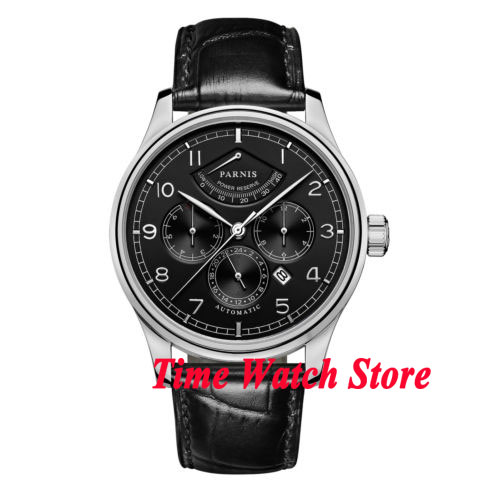 42mm parnis black dial Multifunction Sapphire Glass 26 jewels miyota 9100 Automatic men's Watch wristwatch 664 relogio masculino 42mm parnis withe dial sapphire glass miyota 9100 automatic mens watch 666b
