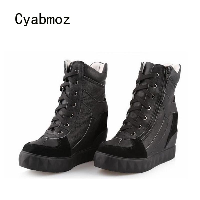 Cyabmoz Genuine Leather Platform Wedge High heels Women Shoes Woman Lace Up Zapatillas Deportivas Zapatos Mujer Tenis Feminino цена и фото