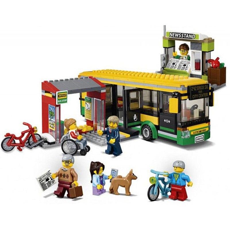 Stadt stadt Bus Station Bausteine Sets Kits Ziegel Kinder Klassische Modell Spielzeug Für Kinder Geschenk Kinder Marvel Kompatibel Legoe