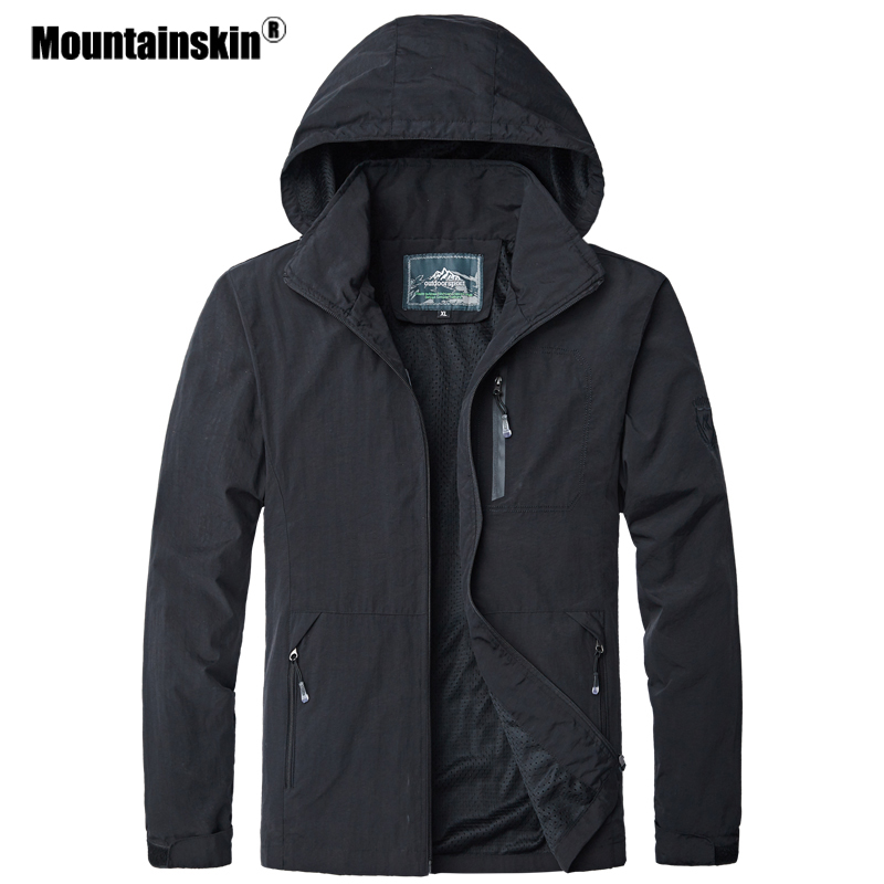 Mountainskin Spring Autumn New Men's Jackets Waterproof Windproof Windbreaker Hooded Male Coats Mens Brand Clothing 5XL SA523