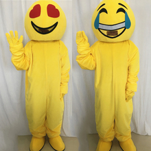 цена на 2019 men's happy face emoji mascot costumes adult women smile angry emoji role play sponge jumpsuit for Christmas carnival party