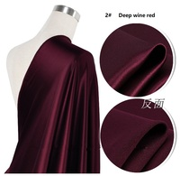 Vin rouge soie élastique satin tissu soie du mûrier grande marque vêtements printemps été soie du mûrier BRICOLAGE pur chiffon couleur 19 m/m
