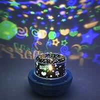 Бутон цветка 360 градусов Романтический Sky Moon Star Роза ночника вращающихся проектор Рождество Свадебные Аксессуары вечеринок