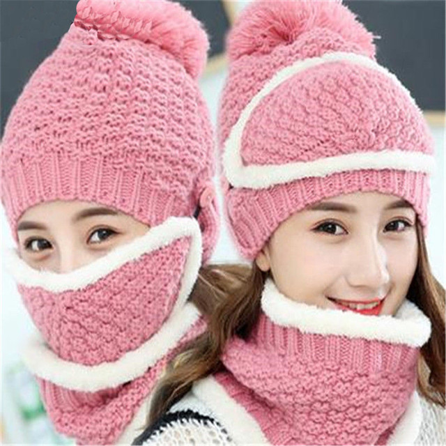 Winter Bobble Knitted Wool Hats For Women Solid Beanie Hat Scarf Set  Earflap Cap Women Thick 8fa52c5150a