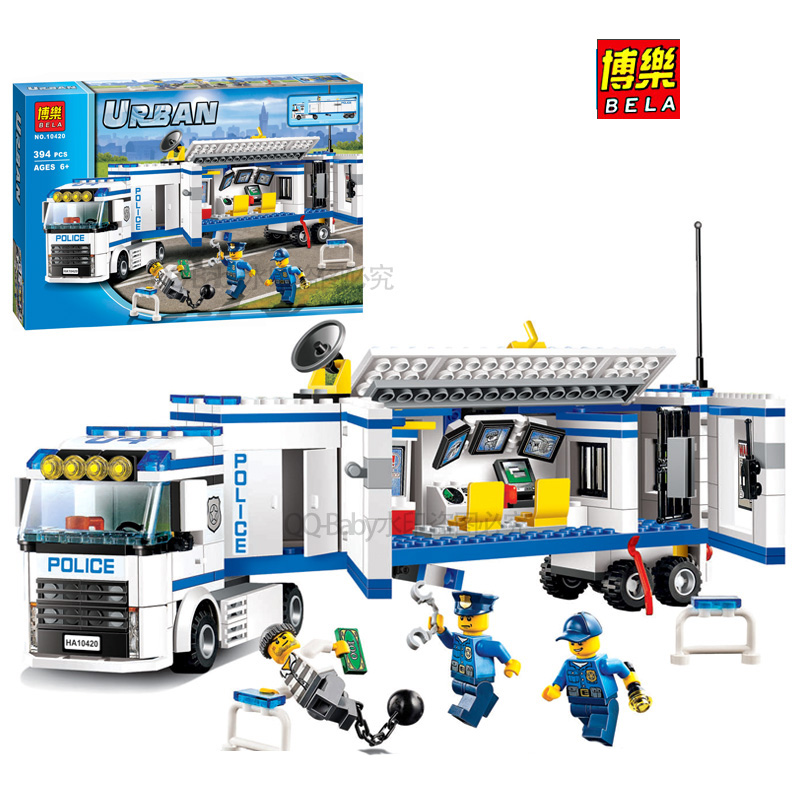 Pogo Lepin BELA 10420 Mobile Unit Urban Police City Building Blocks Bricks Toys Compatible Legoe compatible lepin city block police dog unit 60045 building bricks bela 10419 policeman toys for children 011