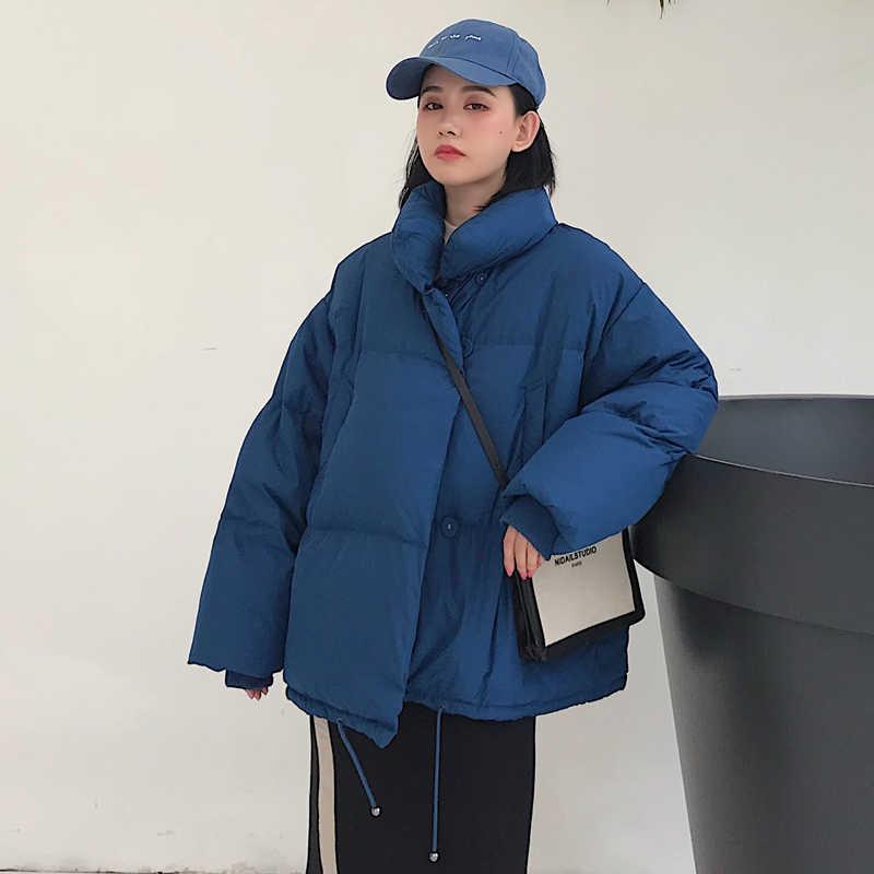 Gaya Korea 2019 Jaket Musim Dingin Wanita Berdiri Kerah Padat Hitam Putih Wanita Down Mantel Longgar Terlalu Besar Wanita Pendek Parka