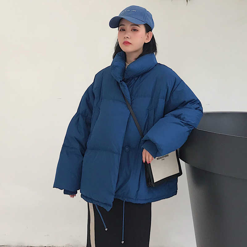 Kore tarzı 2019 kış ceket kadınlar standı yaka düz siyah beyaz kadın uzun kaban gevşek büyük boy bayan kısa Parka
