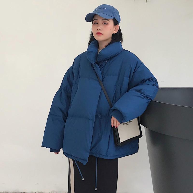 Korean Style 2019 Winter Jacket Women Stand Collar Solid Black White Female Down Coat Loose Oversized Womens Short Parka