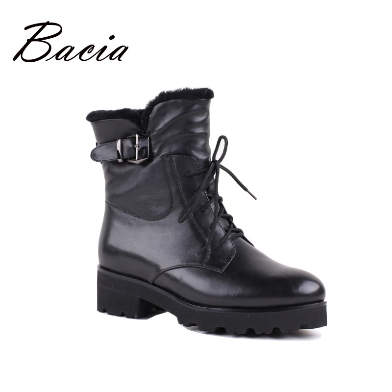 Bacia New Women Leather Boots Genuine Motorcycle Boots Fashion Autumn Winter Brand Shoes Warm Wool Fur Mid-Calf Boots VB089